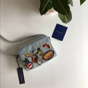 Rebecca Minkoff MAB Camera denim bag with Patches
